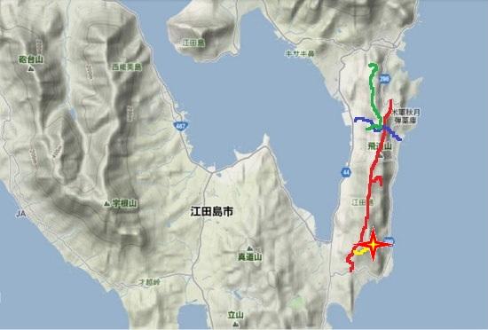 2)江田島町南部・秋月林道・鷲部林道・仏ノ塔