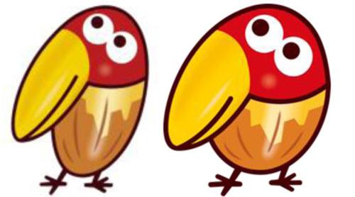 1、(左)従来のキョロちゃん(右)新しいキョロちゃん