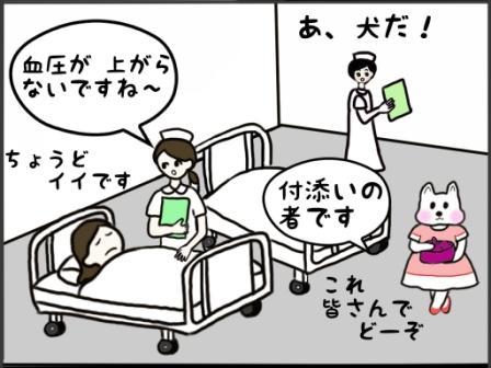 検査後の病室