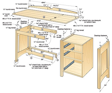 desk plans with drawer