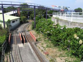 ミニSLの線路と空中自転車のレール