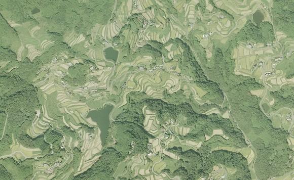 北庄棚田の一部の航空写真