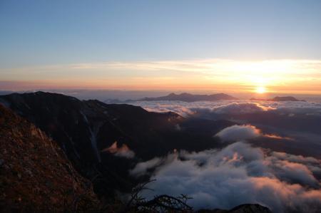 54杓子岳山頂での夜明