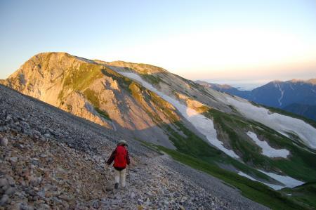 55杓子岳山頂からの降り
