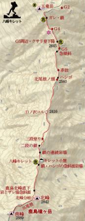 八峰キレット地図
