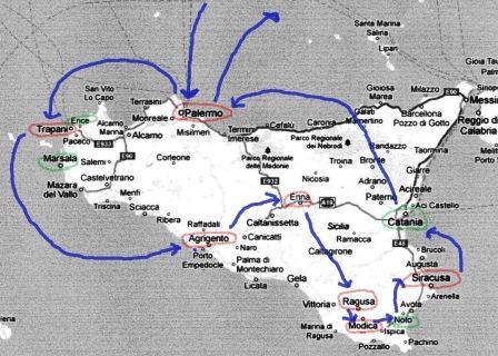 シチリア 旅程