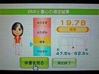 Wii Fit Plus 2012年9月5日のBMI 19.78