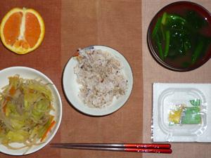 胚芽押麦入り五穀米,納豆,蒸し野菜,ほうれん草のみそ汁,オレンジ