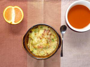ポテトグラタン,野菜スープ,オレンジ