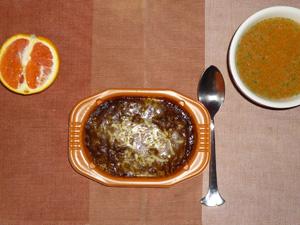 カレードリア,トマトスープ,オレンジ
