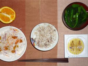 胚芽押麦入り五穀米,納豆,大根サラダ,ほうれん草のおみそ汁,オレンジ
