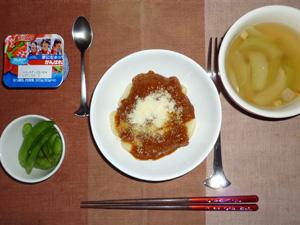 ポテトニョッキのミートソース,枝豆,玉ねぎのスープ,ヨーグルト