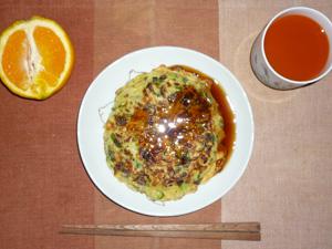ネギ焼き,野菜ジュース,オレンジ