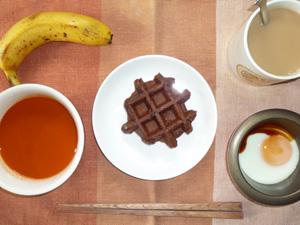 ココアワッフル,野菜スープ,目玉焼き,バナナ,コーヒー