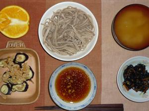 日本蕎麦,焼き茄子と鶏そぼろ,ひじきの煮物,ワカメのおみそ汁,オレンジ