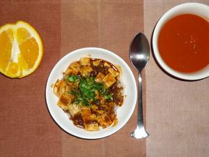 麻婆豆腐丼,野菜スープ,オレンジ