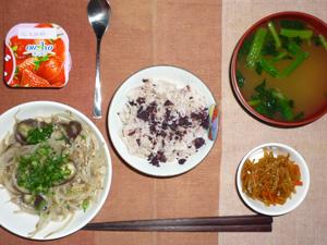 梅紫蘇ご飯,もやしと茄子の炒め物,キンピラごぼう,ほうれん草のおみそ汁,ヨーグルト