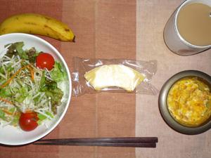バウムクーヘン,サラダ,スパニッシュ風オムレツ,バナナ,コーヒー