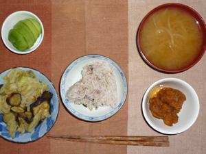 胚芽押麦入り五穀米,鶏の唐揚げポン酢おろしソース,茄子とキャベツの生姜醤油,もやしのおみそ汁,キウイフルーツ