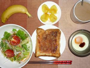 イチゴジャムトースト,サラダ,蒸しジャガ,目玉焼き,バナナ,コーヒー