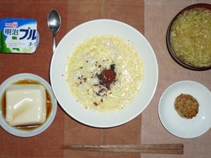 玉子粥,梅干し,温奴,豆腐バーグ,キャベツのおみそ汁,ヨーグルト