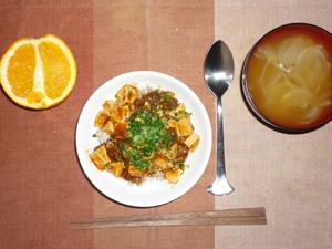 麻婆豆腐丼,玉ねぎのおみそ汁,オレンジ