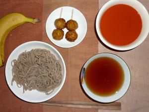 日本蕎麦,つくね×2,野菜スープ,バナナ