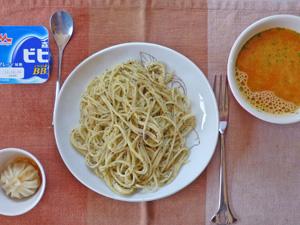 青シソパスタ,トマトスープ,小龍包,ヨーグルト