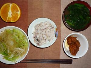胚芽押麦入り五穀米,鶏の唐揚げポン酢ソース掛け,野菜炒め,ほうれん草のおみそ汁,オレンジ