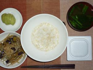 玄米粥,納豆,茄子ともやしの煮物,ほうれん草のおみそ汁