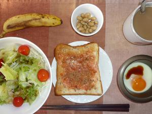 イチゴジャムトースト,サラダ,目玉焼き,煮豆,バナナ,コーヒー