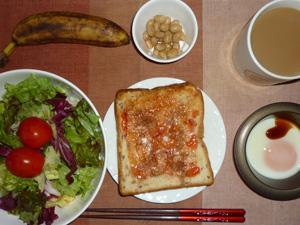 イチゴジャムトースト,サラダ,目玉焼き,煮豆,バナナ