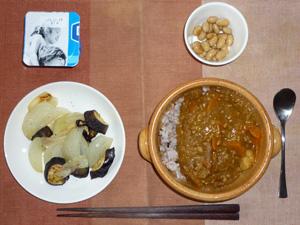カレーライス,焼き野菜(茄子と玉ねぎ)煮豆,ヨーグルト