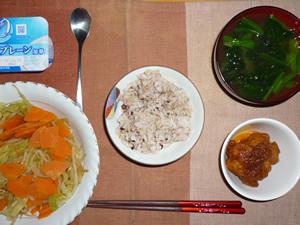 胚芽押麦入り五穀米,鶏の唐揚げおろしポン酢ソースがけ,野菜の蒸し煮,ほうれん草のおみそ汁,ヨーグルト