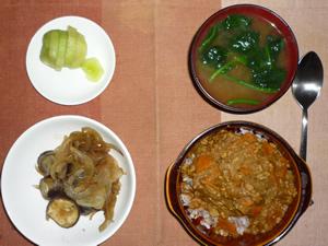 カレーライス,茄子と玉ねぎの炒め物,ほうれん草のおみそ汁,キウイフルーツ