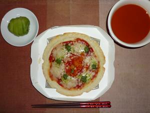 マルゲリータピザ,野菜スープ,キウイフルーツ