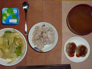 胚芽押麦入り五穀米,プチバーグ×2,キャベツと玉ねぎの蒸し炒め,ワカメのおみそ汁,ヨーグルト
