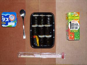 納豆巻き,野菜ジュース,ヨーグルト