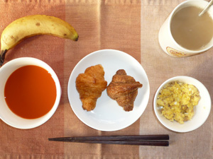 クロワッサン(チョコ,プレーン)野菜スープ,ひき肉入りスクランブルエッグ,バナナ,コーヒー