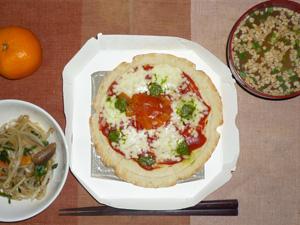 マルゲリータピザ,蒸し野菜,納豆汁,みかん