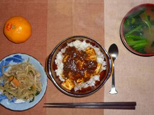 麻婆豆腐丼,蒸し野菜,ほうれん草のおみそ汁,みかん