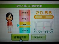 Wii Fit Plus 2012年10月30日のBMI 20.56