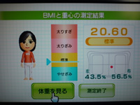Wii Fit Plus 2012年11月1日のBMI 20.60