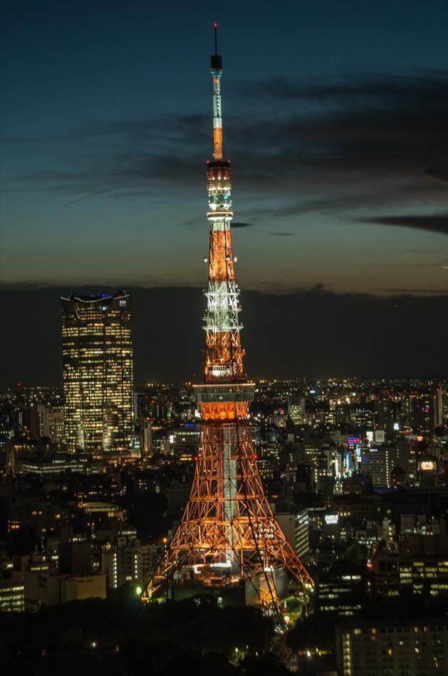 世界貿易センタービル夜景東京タワーアップ