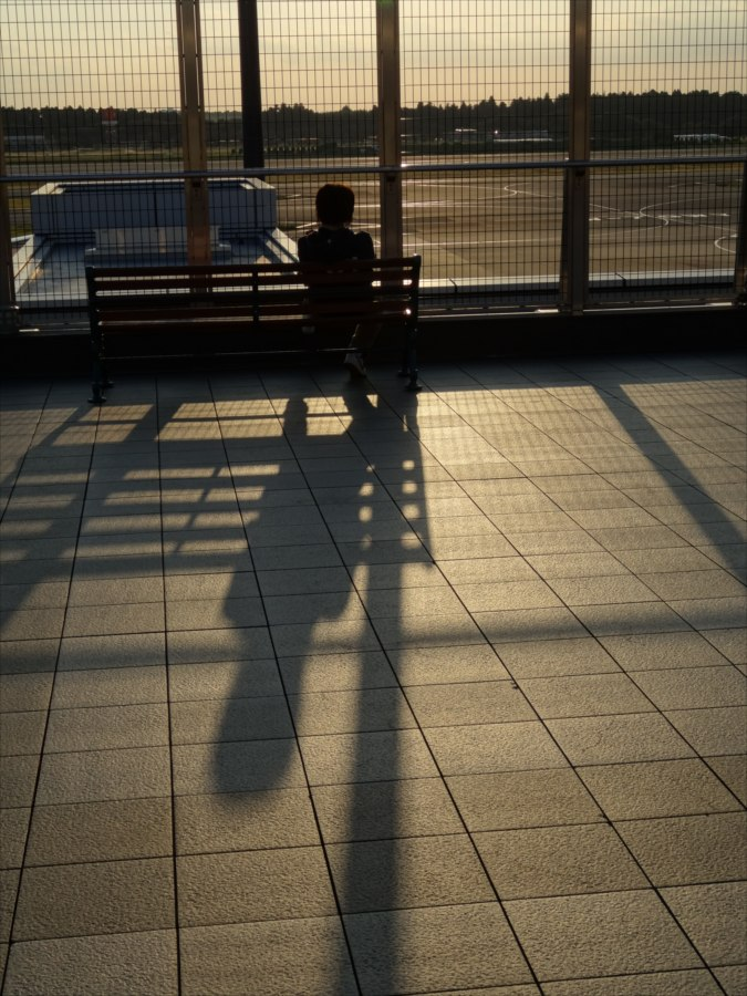 成田空港空想夕日影