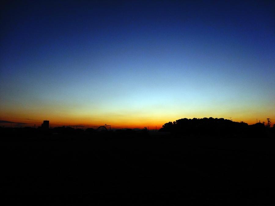 田舎夕景落日
