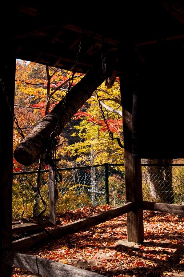 E山梨日川渓谷さいうんじ鐘楼と紅葉