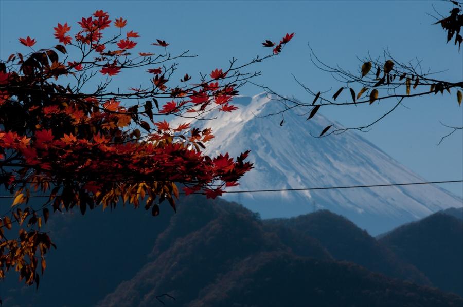 E山梨日川渓谷さいうんじ富士山と紅葉