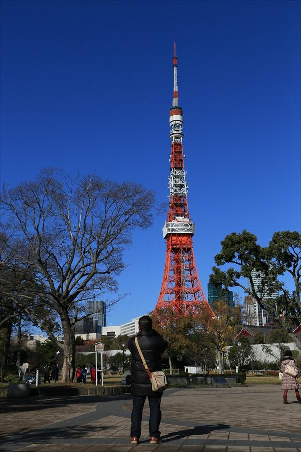 東京タワーを見上げる人