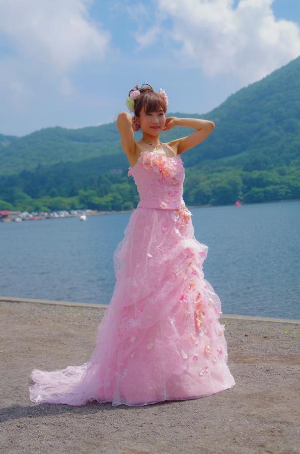 赤城神社撮影会モデルピンクドレス湖水前19